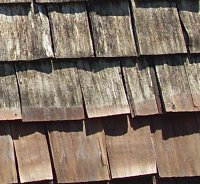dark stains and black streaks on cedar roof shingles
